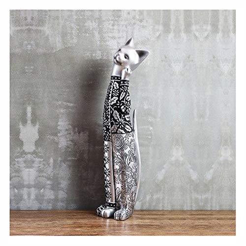 Elegant Gesneden Kat, Leuke Creative Cat Handgemaakte Resin Cat Ornamenten Beeldje, Handgemaakt Standbeeld Best Gift Christmas Gift (Color : D)