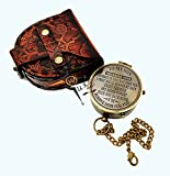 M.A & SONS Personalized Pocket Compass, Camping Travelling Equipment, Boat Compass, Engraved Brass Compass Gift with Wooden Box (Antique)