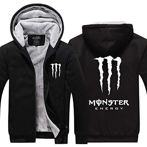 CHUSS Mens-Jacken-Strickjacke-Monster Energy Druck Winter-Stitching Mit Reißverschluss Warm Mit Kapuze Langärmliges Sweatshirt - Teen A-X-Large