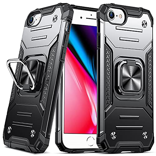 DASFOND Cover Compatibile con iPhone SE 2020/7/8/6/6S,Grado Militare Test di Caduta da 15 Piedi,Cavalletto Rotante a 360 ° Piastra Metallica Magnetica per Supporto da Auto, Nero