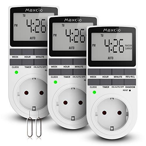 Temporizador Enchufe, Maxcio Programador Enchufe Digital Programable Pantalla LCD Horario de Verano 12/24 horas Semanal Digital Timer con Modo Aleatorio Ahorrar Energía 16A / 3680W Máx (3 Packs)