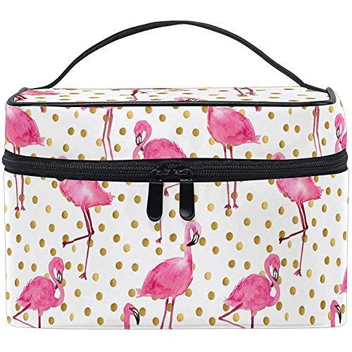 Rose Flamingos Maquillage Sac Toilette Brosse Train Case Animal avec Golden Dots Transportant Portable Pochette De Rangement Sacs