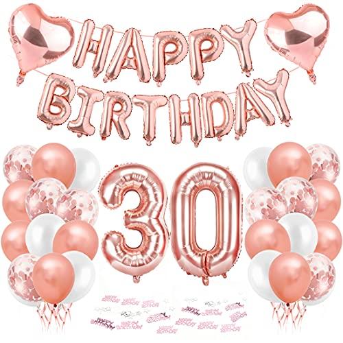 Compleanno Festa Decorazioni, 30 Anni Compleanno Decorazioni per Donna, Oro Rosa Striscione di Happy Birthday Numero Foil Palloncini Palloncini Lattice Ballon, feste per il trentesimo compleanno