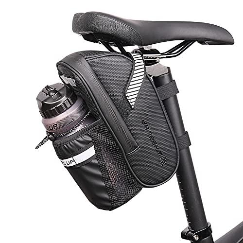 ACESPORT Bolsa para sillín de bicicleta, bolsa impermeable con soporte para botellas, bolsa de herramientas para bicicleta de montaña, bolsillo para botella de agua, asiento trasero
