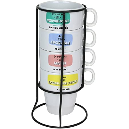 Dites-le avec des mots MO1112 Tasses à café empilables et leur support tour Set de 4 assorties Blanc et multicolore Céramique et métal H22 x 9,3 x 11,3 cm