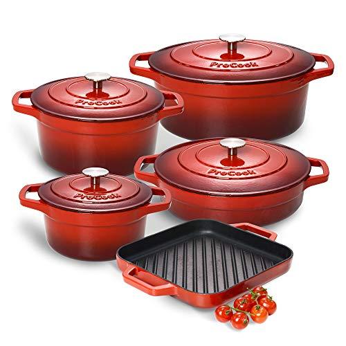 ProCook - Kochgeschirr Set aus Gusseisen - induktionsgeeignet - 5-teiliges Set - emailliert - Bräter - Grillpfanne - Schmortopf - in schattiertem Rot