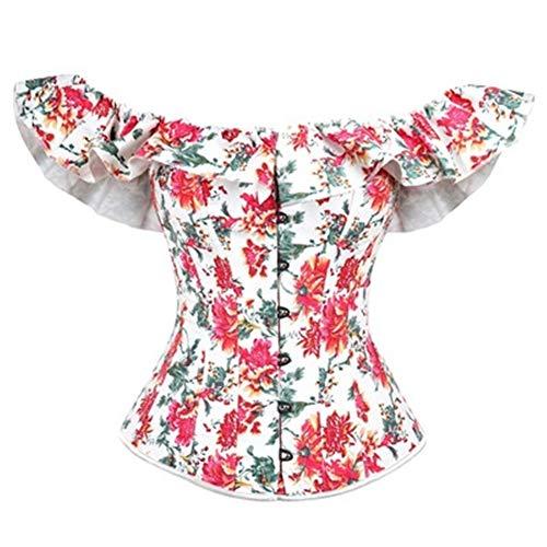 QWER Overbust Corset Off Shoulder Top Plus Size Burlesque Costumes Floral Lace...