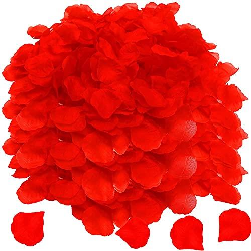OWLKELA 5000 Stück Rote Rosenblätter, Künstliche Rosenblätter, Rosenblätter für Valentinstag, Hochzeit, Geburtstag, Romantische Atmosphäre