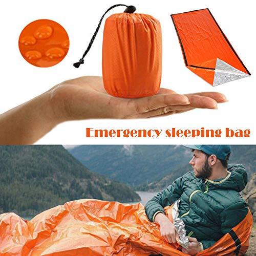 no brand Sac de Couchage d'urgence imperméable à l'eau Portable pour la Survie en Plein air randonnée Camping