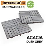 INTERBUILD REAL WOOD Acacia Hardwood Deck and Patio Easy to Install Interlocking Flooring Tiles 12'×12'×5/8' - 10 Tiles/Pack - Totally 10 Sq. Ft.