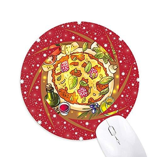 Gemüse Pizza Italien Lebensmittel Tee Rad Maus Pad Runde Red Rubber