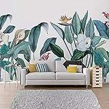 Papel tapiz fotográfico 3D flores y pájaros tropicales Murales Sala de estar TV Sofá Ropa de cama Habitación Fondo Pintura de pared Decoración para el hogar