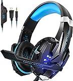 Igrome Auriculares para Videojuegos con micrófono, Sonido Envolvente de Bajos estéreo (Stereo Bass Surround), luz led, Color Azul