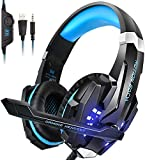 Igrome Gaming Headset mit Mikrofon, Stereo Bass Surround, LED Licht, Blau