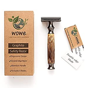 Wowe Lifestyle Double Edged Safety Razor with Long Natural Bamboo Wood Handle, Experience A Better Shave, Includes 5…