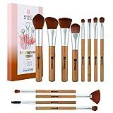HEYMKGO Bamboo Makeup Brushes Eco-friendly Vegan Makeup Brush Set Professional Bamboo Handle and Premium Synthetic Bristles for Foundation Makeup Blusher Concealer Lip Eye Make Up