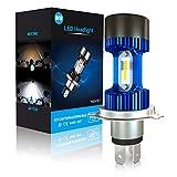 Ampoule H4 LED, Phare pour Moto, Feux Avants 6400LM, 12V-24V, Xénon Blanc 6000K, Pack de 1 - Bleu