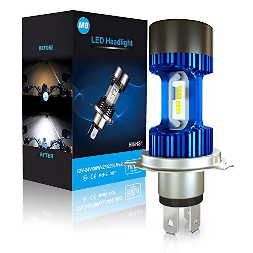 Lampadina H4 LED per Moto, 6400LM Lampada Sostituzione per Alogena, 12-24V, Xenon Bianco 6000K, Confezione da 1 - Blu