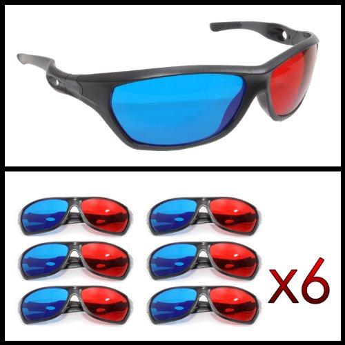 3d gafas, gafas 3d anaglíficas (deportiva para TV o PC de juegos (Rojo/Azul), televisor, 3d de vasos con tecnología anaglyphen–Marca Ganzoo