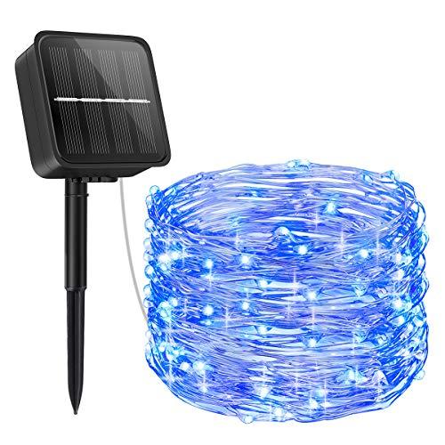 【2020 Newest】ORIA Solar Lichterkette, Außen Lichterkette 100 LED / 8 Modi Solar Gartenleuchten, 33ft (10M) Kupferdraht Solarleuchten für Weihnachten, Baum, Garten, Haus, Hochzeit, Party - Blau