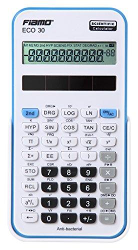 Fiamo wetenschappelijke rekenmachine ECO30, 138 functies en 10-cijferig display, wit/blauw