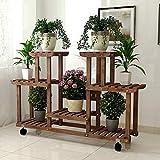 YXWa Blumentreppe Pflanzenständer aus mehrschichtigem Blumenständer mit Bodenständer mit Rollen, 110 x 25 x 76 cm (LxBxH), braun gartenregal (Farbe : Brown)