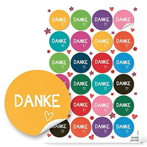 Logbuch-Verlag 48 DANKE Aufkleber bunt 4 cm Dankesaufkleber Dankeschön Sticker - Geburtstag Hochzeit Kommunion Firmenfeier Jubiläum