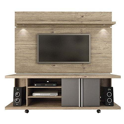 Manhattan Comfort Carnegie TV Stand & Park 1.8 Floating Wall TV Panel, Nature/Onyx, 71Lx17.1Wx73H