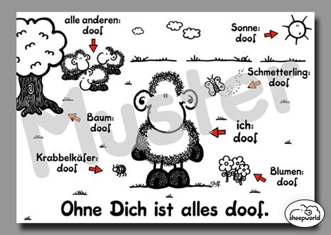 "sheepworld Postkarte ""Ohne Dich ist alles doof\"" Nr. 74"