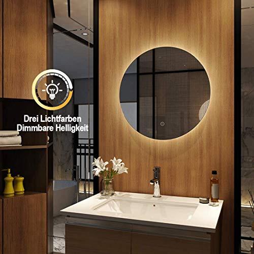 Meykoers Wandspiegel Badezimmerspiegel LED Badspiegel mit Beleuchtung Spiegel Rund 60cm Dimmbar, Badspiegel Rund Lichtspiegel mit Touch Schalter, Warmweiß/Kaltweiß/Neutral 3000K-6400K