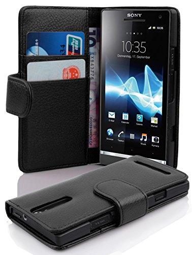 Cadorabo Custodia Libro per Sony Xperia S in NERO PROFONDO - con Vani di Carte e Funzione Stand di Similpelle Strutturata - Portafoglio Cover Case Wallet Book Etui Protezione