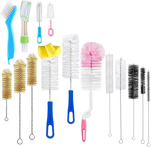 15Pcs Food Grade Multipurpose Bottle Brushes for Cleaning,Cleaner Brush,Include Straw Brush|Bottle Brush|Blind Duster|Pipe Cleaner,Small,Long,Soft,Stiff Kit for Baby Bottle,Nipple,Tube,Jar,Bird Feeder