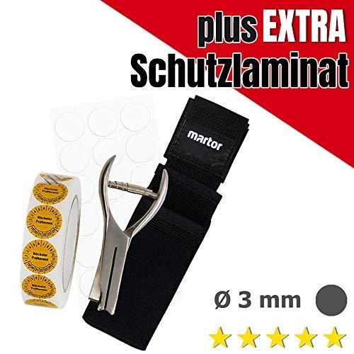 ROBUSTO Kerbzangen-Komplett-SET, Lochzange mit Kreis-Kerbform Ø 3 mm + Prüfplaketten + Gürteltasche aus Stahl, Folie, Kunststoff