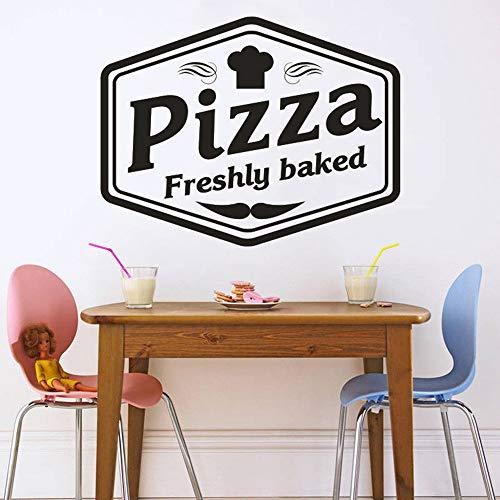 Logo de Pizza pegatina para ventana comida italiana Pizzeria pegatina para pared con patrón cocina restaurante Pizza decorativa póster para pared de vinilo