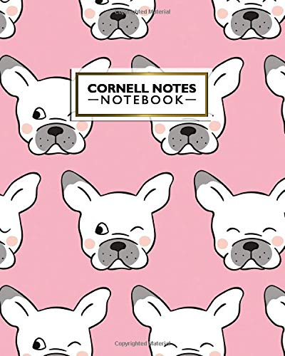 Cornell Notes Notebook: Cute Happy Pug Dog Large Cornell Note Paper Notebook - College Ruled Medium Lined Journal Note Taking System for School and University