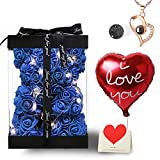 Rose Bear Flower Gift for Women Mom Her Girlfriend, Fully-Assembled Teddy Bear with 100 Languages I Love You Necklace and String Lights Anniversary Christmas Valentines Mother's Day Birthday,Blue