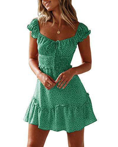 Ybenlover Damen Blumen Sommerkleid High Waist Volant Kleid Vintage Minikleid Strandkleid, Grün, L