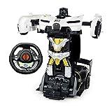 ZAKRLYB 1/22 Escala Mini Electric RC Cars Un botón Robot deformado Remoto Deformaciones de la Historieta del Coche del Control de Coches de Juguete for Adultos y Regalos Infantiles (Color : Blanco)