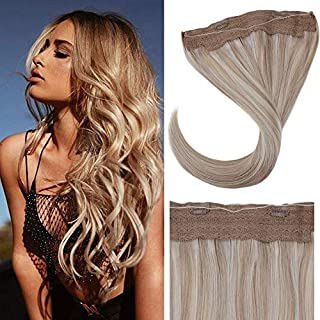 LaaVoo Halo 20inch Highlight Color Ash Blonde Mixed Light Blonde One Piece Hidden Wire Human Hair Extensions With No Tangle Remy Popular Color For White Girls 11 inch Width 100g Per Pack