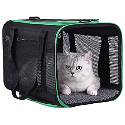 petisfam Large Cat Carrier for Large and Medium Cats and Small Dogs Offers a Comfy and Safe Way to Transport Your Fur Baby and Provides a high Level of Convenience for You