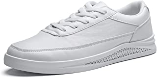 Fashion Shoes, Fashion Shoes Fashion Men Sneaker for Flat Board Shoes Lace Up Microfiber Leather Outdoor Skating Sports Athletic Comfortable Shoes, Breathable Shoes (Color : White, Size : 7 UK)
