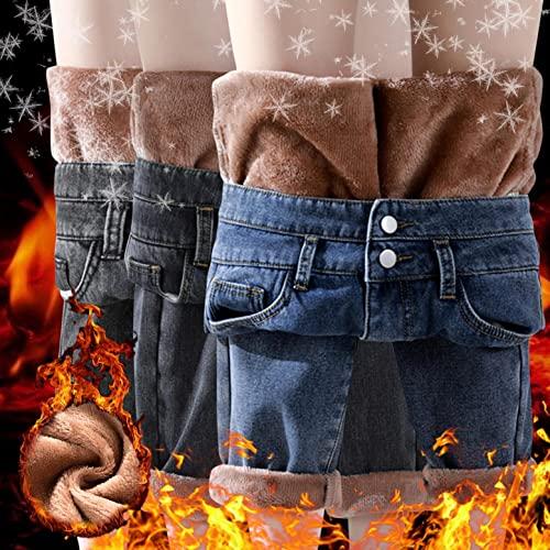 Jeans Damen Winter-Jeans Damen-Gefüttert High-Waist Straight-Lang Fleece-Thermohose: Gefütterte Leggings Damen Thermo Strumpfhose Damen Jeanshose Winterhose Damen Thermo Fleecehose Leicht Sporthose