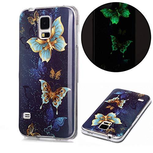 Miagon Leuchtend Luminous Hülle für Samsung Galaxy S5,Fluoreszierend Licht im Dunkeln Handyhülle Silikon Case Handytasche Stoßfest Schutzhülle,Gold Schmetterling