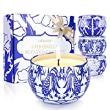 Laluztop Citronella Candles Outdoor and Indoor, 4.8 oz Each Scented Candles Pure Soy Wax Portable Travel Tin Candle for Stress Relief, 4-Pack Gift Set
