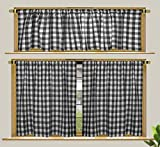 COTTON CRAFT - Set of 3 - Window Treatment Set - Black and White - Gingham Check Premium Café Curtain with Valance - 30x36 / 16x60 in - Perfect for Kitchen, Living Room, Laundry Room, Bedroom
