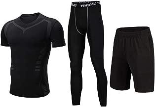 AUMING Funktionswäsche Set 3 Stücke Männer Sport Workout Gym Fitness Kleidung Set Mit Kompression Enge Hosen, Kompression Kurzarm T-Shirt, Shorts für Laufen Radfahren Yoga (Color : Black, Size : L)