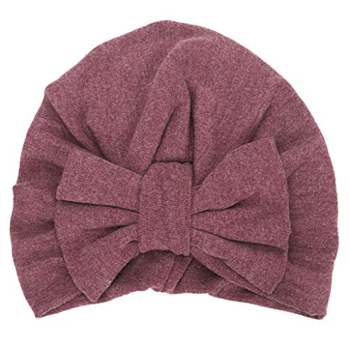 VIccoo Bufanda Larga, Sombrero de Turbante de Invierno con Lazo Grande para bebés y niñas, Gorro Plisado de algodón de Color sólido - I
