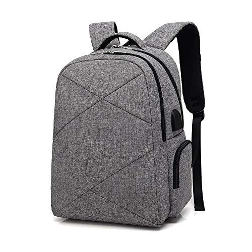 Xiao-OZ Smart USB Charging Backpack, Casual Business Men's Bag, Waterproof Notebook Backpack,Breathable,Waterproof,wear-Resistant Shock-Resistant,Lightening Oxford Cloth Bag (Color : Light Gray)