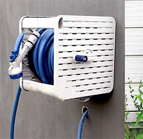 Release Dual-purpose Home Garden 20m Pijp Slanghaspel Met Multifunctionele Sproeikop Car Cleaning Tool Slang Opbergrek
