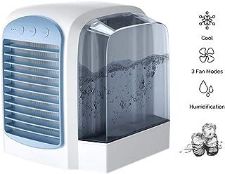 HHH Mini Enfriador Climatizador Purificador de Aire Humidificador y Purificador Aire Acondicionado Desmontable Portátil con Tanque de Agua de 380 ml y Luz Nocturna para Enfriar